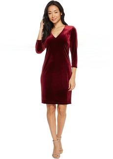 Karen Kane Velvet V-Neck Sheath Dress