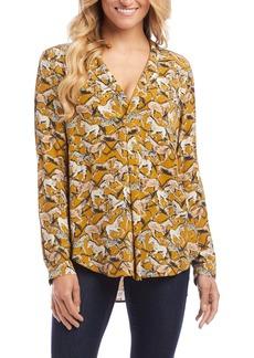Karen Kane Wild Horse Print Woven Shirt