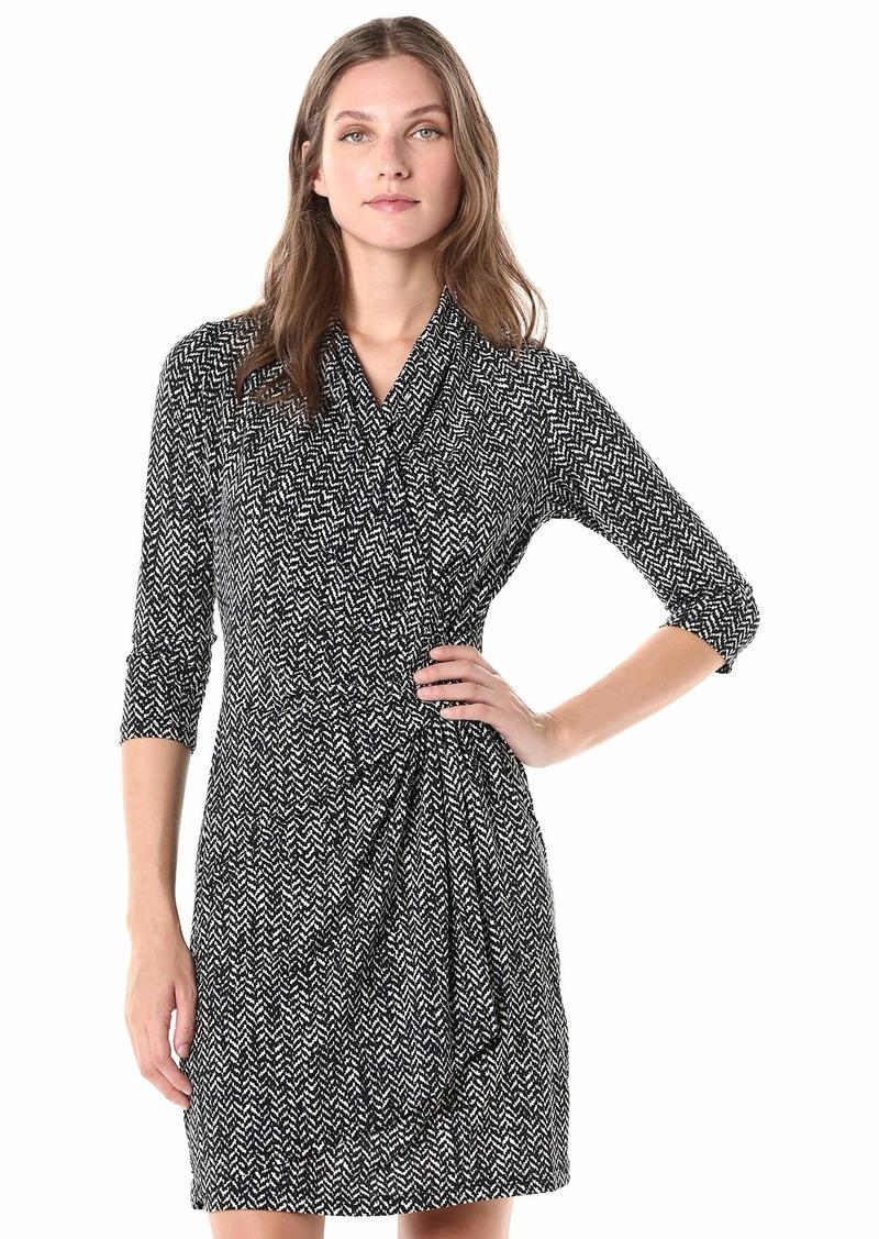 Karen Kane Women's 3/4 Sleeve Cascade WRAP Dress