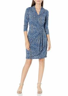 Karen Kane Women's 3/4 Sleeve Cascade WRAP Dress  Extra Large