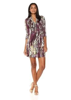 Karen Kane Women's 3/4 Sleeve Cascade Wrap Dress  L