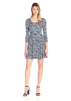Karen Kane Women's 3/4 Sleeve Flared Godet Dress  L