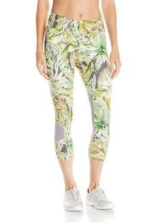 Karen Kane Women's Active Crop Pant Print Mesh Contrast