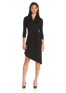 Karen Kane Women's Asymmetrical Cascade Wrap Dress