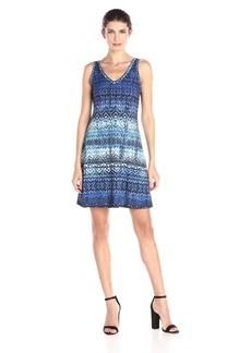 Karen Kane Women's Blue Batik Brigitte Dress
