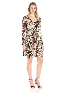 Karen Kane Women's Blurred Cheetah Taylor Dress  L