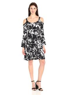 Karen Kane Women's Cold Shoulder Flare Sleeve Dress  M