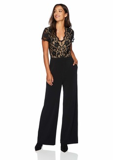Karen Kane Women's Contrast LACE Jumpsuit Black with Nude Extra Large
