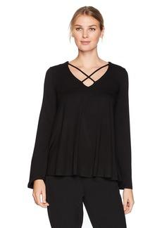 Karen Kane Women's Criss-Cross Flare Sleeve Top  XL