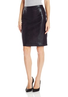 Karen Kane Women's Croco Faux Leather Skirt  L