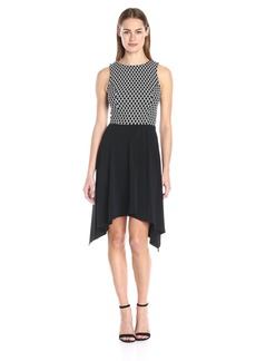 Karen Kane Women's Diamond Contrast Handkerchief Dress