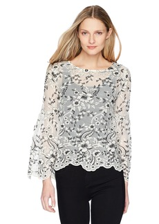 Karen Kane Women's Embroidered Flare Sleeve Top  XL