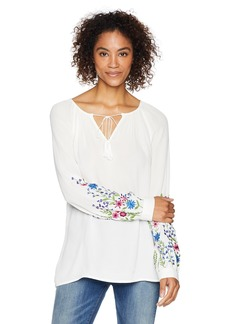Karen Kane Women's Embroidered Peasant TOP Off