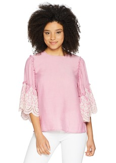 Karen Kane Women's Embroidered Ruffle Sleeve TOP  Extra Small