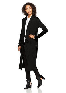 Karen Kane Women's Faux Leather Patch Sweater Duster  M