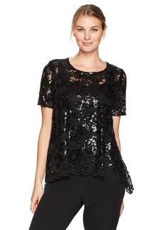Karen Kane Women's Flare Sequin Lace Top  L