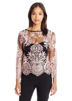 Karen Kane Women's Flare-Sleeve Embroidered Top  XL