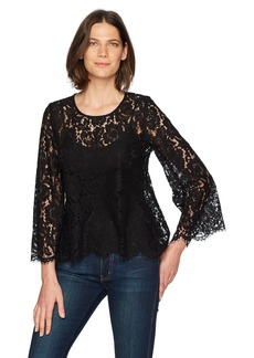 Karen Kane Women's Flare Sleeve Scallop Lace Top  M