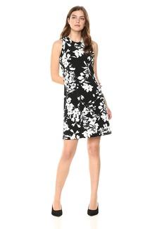 Karen Kane Women's Floral Print Halter Dress Black with Off White XS