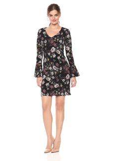 Karen Kane Women's Floral V-Neck Bell Sleeve Dress  L