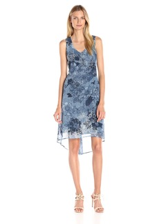 Karen Kane Women's Indigo Floral V-Neck High/Low Hem Dress