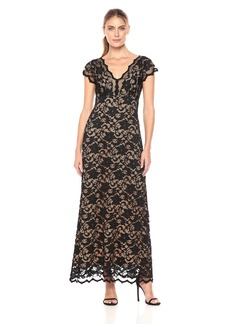 Karen Kane Women's Juliet Maxi Dress Black with Nude L