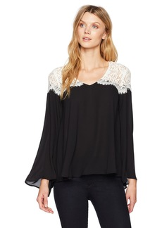 Karen Kane Women's Lace Contrast Bell Sleeve Top Black with Off White XS
