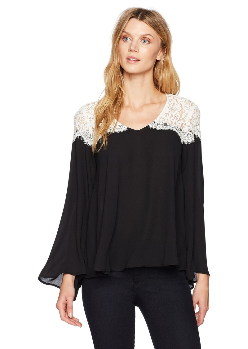 e61aabf10c9 Karen Kane Women s Lace Contrast Bell Sleeve Top Black with Off White XS