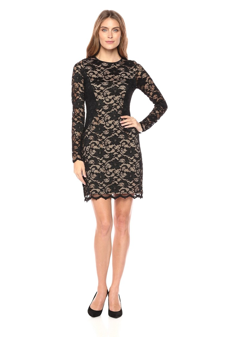 Karen Kane Women's Lace Curve Contrast Inset Dress Black with Nude L