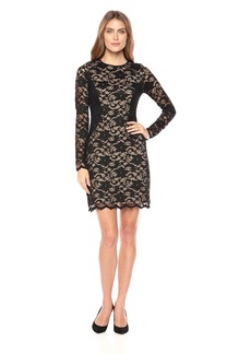 Karen Kane Women's Lace Curve Contrast Inset Dress Black with Nude XL