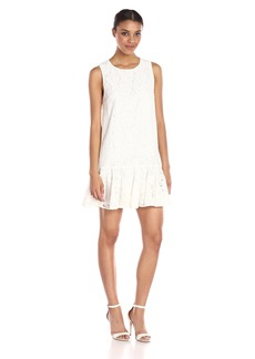 Karen Kane Women's Lace Ruffle Hem Dress Off-White