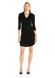 Karen Kane Women's Lace Ruffle Sweater Dress  L