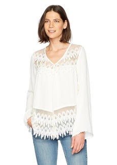 Karen Kane Women's Lace Trim Flare Sleeve Top  XL