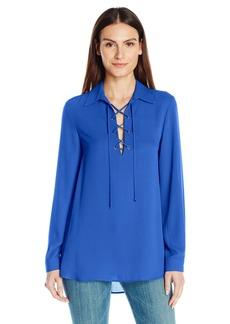 Karen Kane Women's Lace-up Collar Blouse  L