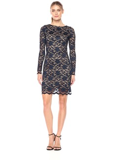 Karen Kane Women's Long Sleeve Lace Dress Navy with Nude XL