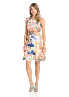 Karen Kane Women's Painted Floral Scuba Dress