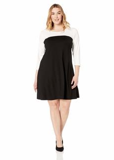 Karen Kane Women's Plus Size 3/4 Sleeve Colorblock Dress  1X