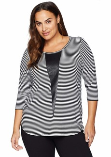 Karen Kane Women's Plus Size 3/4 Sleeve Contrast TOP