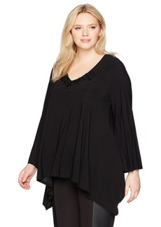 Karen Kane Women's Plus Size Applique Bell Sleeve Top