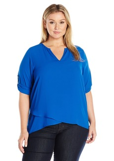 Karen Kane Women's Plus Size Asymmetric Hem Wrap Top