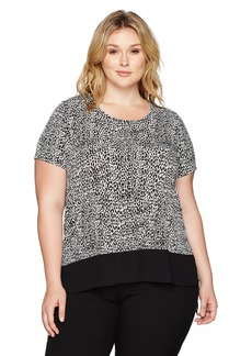Karen Kane Women's Plus Size Asymmetric Sheer Hem Top