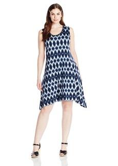 Karen Kane Women's Plus Size Blurred Ikat Uneven Hem Tank Dress  2X