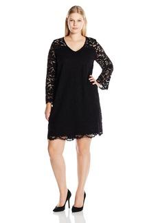 Karen Kane Women's Plus Size Bracelet Sleeve Lace Dress  2X