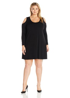 Karen Kane Women's Plus Size Cold-Shoulder Trapeze Dress  0X