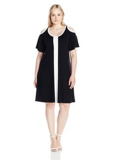 Karen Kane Women's Plus Size Color Block Cold Shoulder Dress  0X