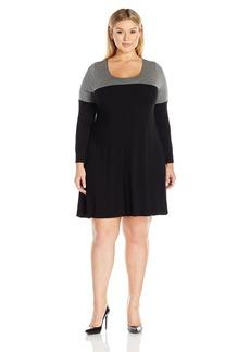 Karen Kane Women's Plus Size Colorblock Maggie Trapeze Dress  1X