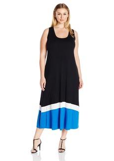 Karen Kane Women's Plus Size Contrast Maxi Tank Dress  2X