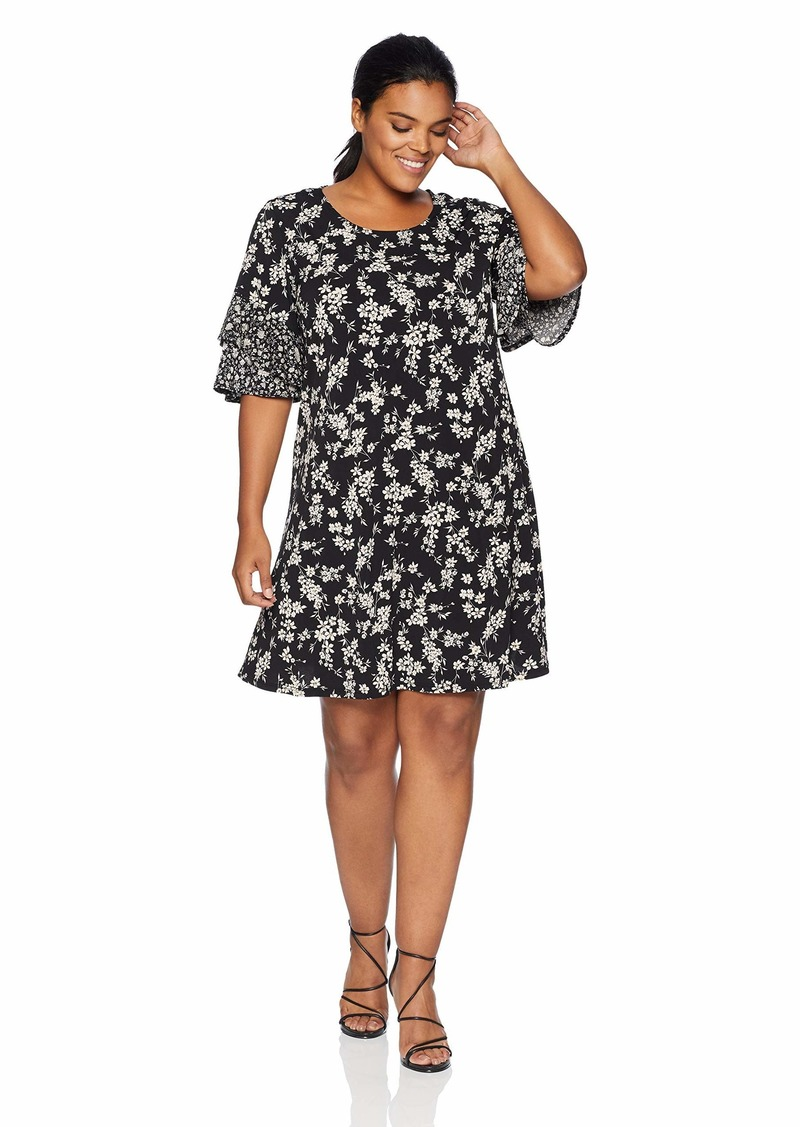 Karen Kane Women's Plus Size Contrast Print Ruffle Sleeve Dress  2X