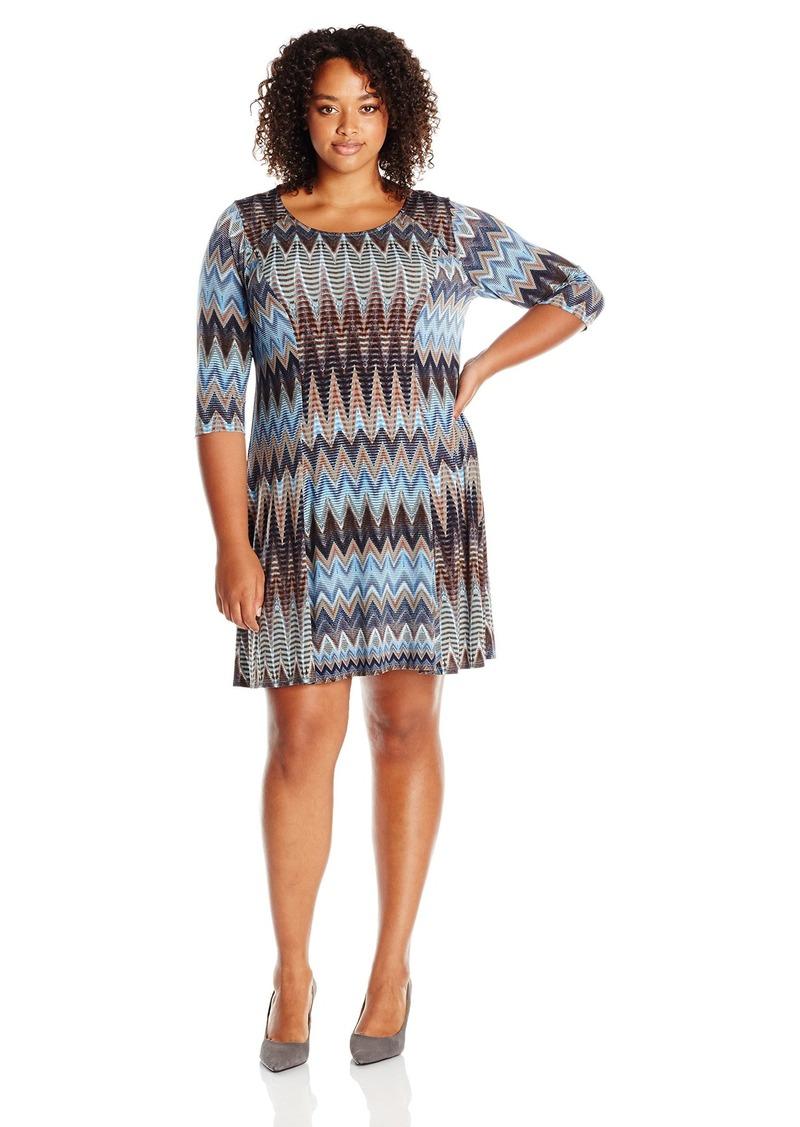 Karen Kane Women's Plus Size Desert Zig Zag a-Line Dress  2X