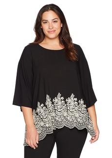 Karen Kane Women's Plus Size Embroidered 3/4 Sleeve Top